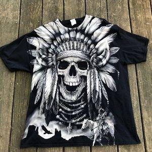 Native American Skull Headress Tee Shirt 2XL